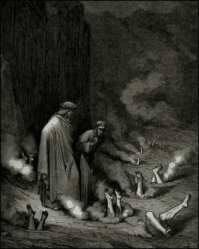 Dante chats with a pope in Hell
