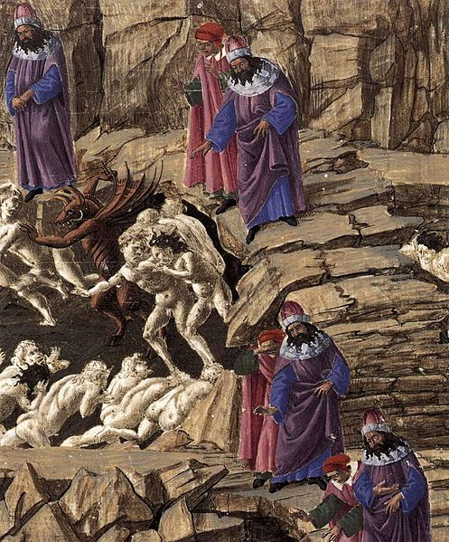 Dante meets the Panderers and Flatterers in Hell